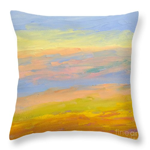 Sunrise Throw Pillow featuring the painting Sunrise by Fred Wilson