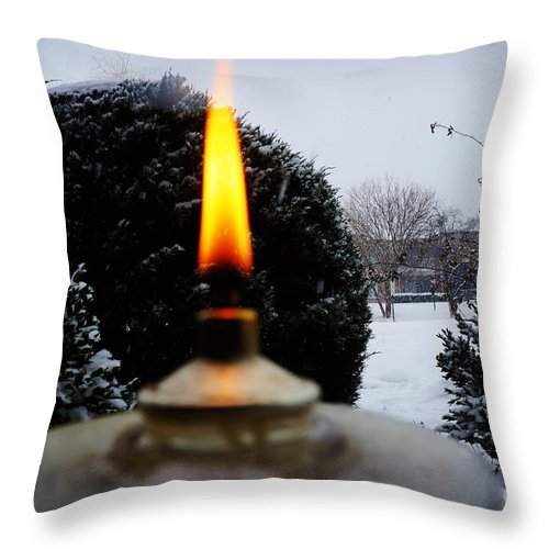 Christmas Throw Pillow featuring the photograph The Candle In The Snow by Celestial Images