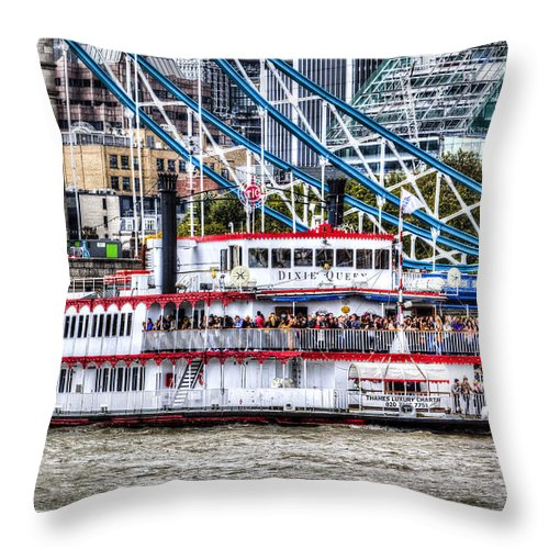 Tower Bridge Throw Pillow featuring the photograph The Dixie Queen Paddle Steamer by David Pyatt