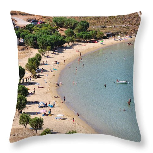 Serifos; Psili Ammos; Beach; Greece; Greek; Hellas; Cyclades; Island; Kyklades; Aegean; Islands; Sand; Sea; People; Tourists; Swimming; Swim; Sunbathing; Suntanning; Relaxing; Relaxation; Holidays; Vacation; Travel; Trip; Voyage; Journey; Tourism; Touristic; Summer; Clear Water Throw Pillow featuring the photograph The Famous Psili Ammos Beach by George Atsametakis