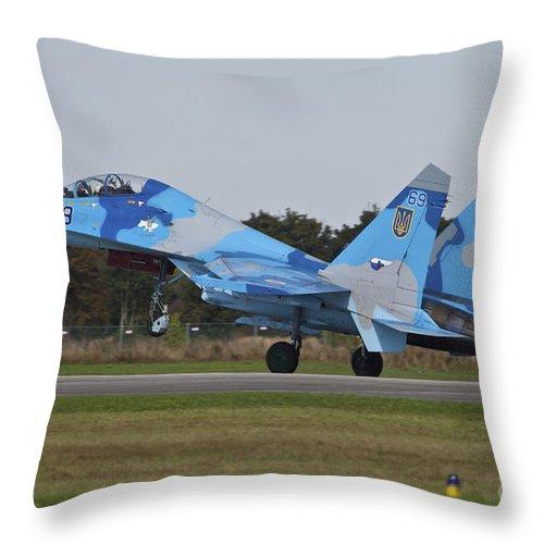 Czech Republic Throw Pillow featuring the photograph Ukrainian Air Force Su-27 Flanker by Timm Ziegenthaler