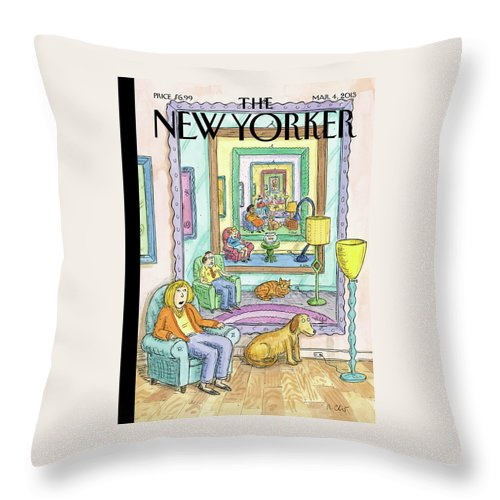 Dog Throw Pillow featuring the painting New Yorker March 4th, 2013 by Roz Chast