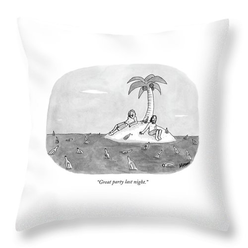 Rescue Drinking Alcohol  Sme Sam Means (two Men On A Desert Island Surrounded By Bottles.) 120672 Throw Pillow featuring the drawing Great Party Last Night by Sam Means