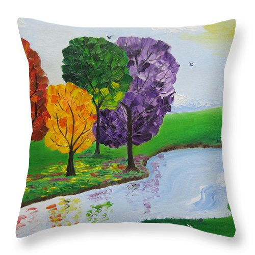 Landscape Throw Pillow featuring the painting Where There Is Quiet by Sayali Mahajan