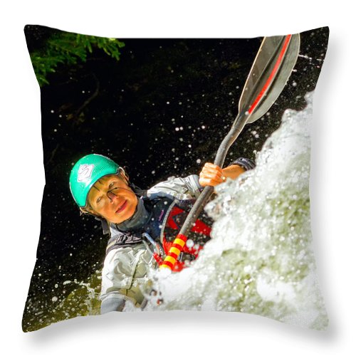 Kayak Throw Pillow featuring the photograph Whitewater Kayak by Les Palenik