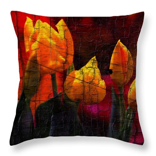 Tulips Throw Pillow featuring the photograph 4 Yellow Tulips by Jaime Aguirre