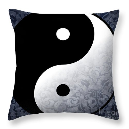 Yin Yang Throw Pillow featuring the painting Yin And Yang 2 by Roz Abellera