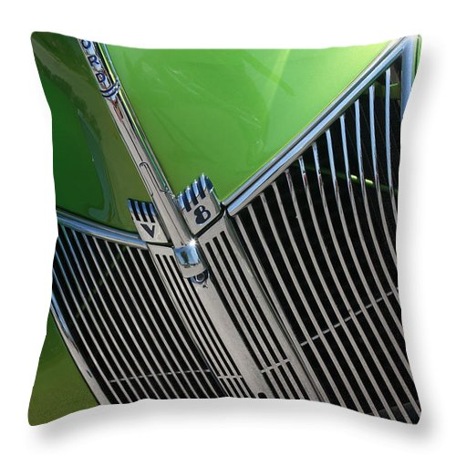 1940 Throw Pillow featuring the photograph 40 Ford - Grill Detail-8633 by Gary Gingrich Galleries