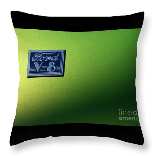 1940 Throw Pillow featuring the photograph 40 Ford - V8 Logo-8565-1 by Gary Gingrich Galleries