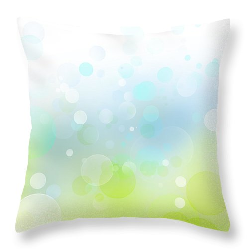 Green Throw Pillow featuring the digital art Abstract Background by Les Cunliffe