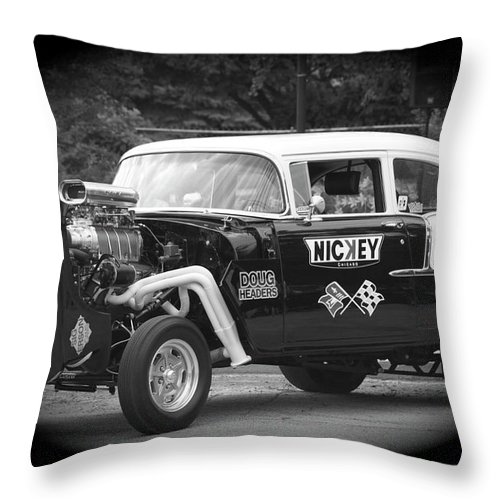 Black And White Throw Pillow featuring the photograph 409 Cu Inches Black And White by Thomas Woolworth