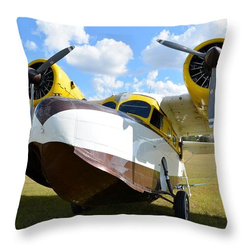 Grumman G-21 Goose Throw Pillow featuring the photograph '42 Goose by Matt Abrams