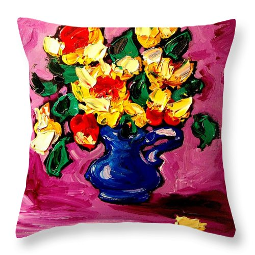 Throw Pillow featuring the painting Roses by Mark Kazav