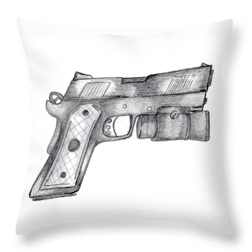 45 Caliber Throw Pillow featuring the drawing 45 Acp by Minding My Visions by Adri and Ray