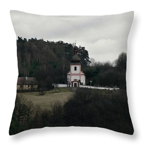 Trees Throw Pillow featuring the photograph Church And Historical Houses by Pavel Jankasek