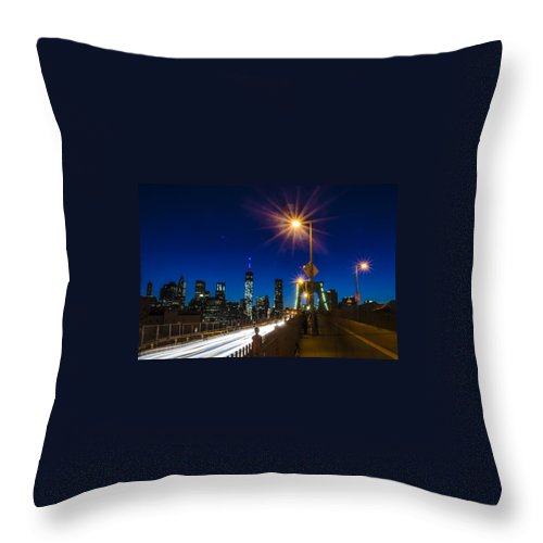 Wtc1 Throw Pillow featuring the photograph 4th Of July On The Brooklyn Bridge by GeeLeesa Productions