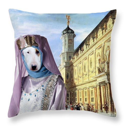 Bull Terrier Throw Pillow featuring the painting Bull Terrier Art Canvas Print by Sandra Sij