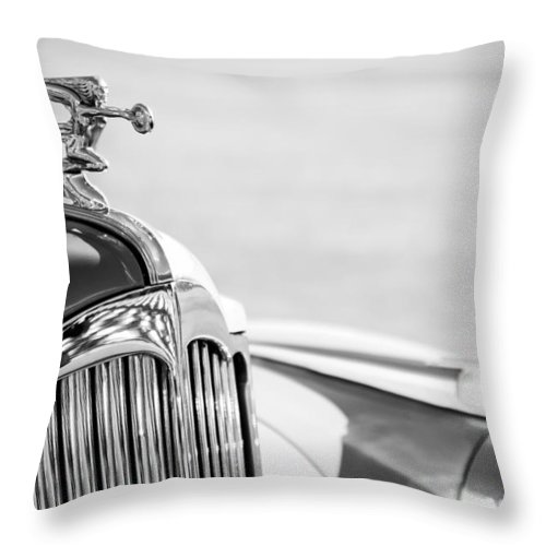 1942 Packard Darrin Convertible Victoria Hood Ornament Throw Pillow featuring the photograph 1942 Packard Darrin Convertible Victoria Hood Ornament by Jill Reger