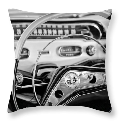 1958 Chevrolet Impala Steering Wheel Throw Pillow featuring the photograph 1958 Chevrolet Impala Steering Wheel by Jill Reger