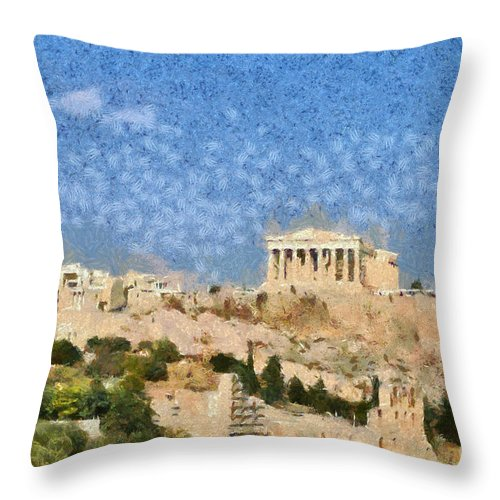 Acropolis; Acropoli; Akropoli; Akropolis; Parthenon; Monument; Athens; City; Capital; Attica; Attika; Attiki; Greece; Hellas; Greek; Hellenic; Europe; European; Temple; Ancient; Holidays; Vacation; Travel; Trip; Voyage; Journey; Tourism; Touristic; Summer; Paint; Painting; Paintings Throw Pillow featuring the painting Acropolis In Athens by George Atsametakis