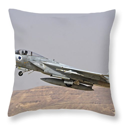 Aircraft Throw Pillow featuring the photograph An F-15c Baz Of The Israeli Air Force by Ofer Zidon