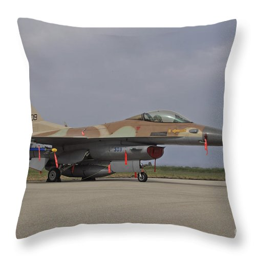 Aircraft Throw Pillow featuring the photograph An F-16c Barak Of The Israeli Air Force by Ofer Zidon