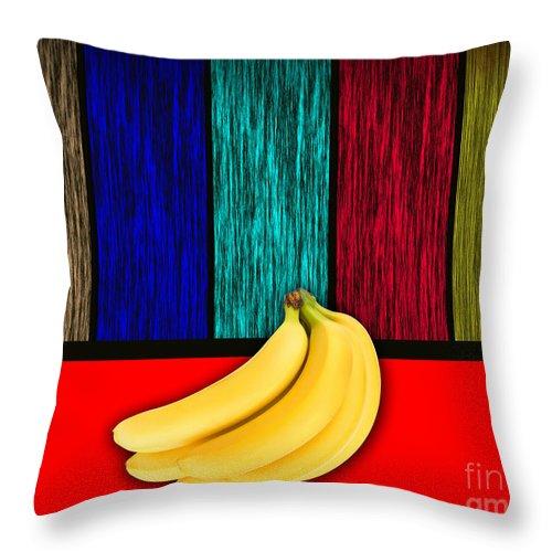 Bananas Photographs Mixed Media Throw Pillow featuring the mixed media Bananas by Marvin Blaine