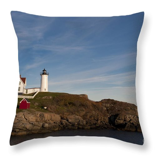 Cape Neddick Throw Pillow featuring the photograph Cape Neddick Lighthouse by John Shaw