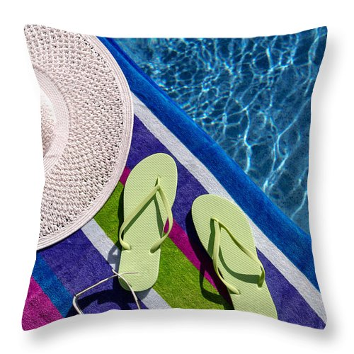 f14844d5b628 Light Green Throw Pillow featuring the photograph Flip Flops By The Pool by Teri  Virbickis
