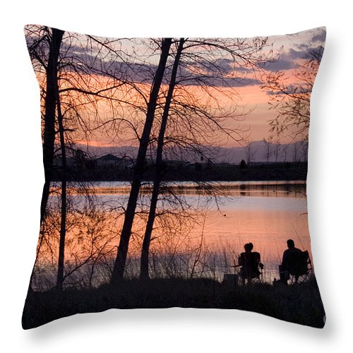 Colorado Throw Pillow featuring the photograph Fly Fishing At Sunset by Steve Krull