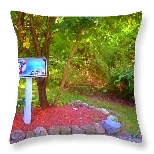 5 Hole Sign On Golf Course Throw Pillow featuring the painting 5 Hole Sign On Golf Course 2 by Jeelan Clark