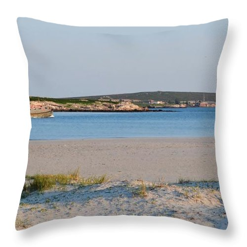 Langebaan Lagoon; Beach; Seascape; South Africa; West Coast; Atlantic Ocean; Blue; Sand; Boot; Fisher; Background; Decorative; Hills; Water; Sea; Dunes; Grass; Green; Sky; Sunrise; Landscape; Throw Pillow featuring the photograph Langebaan Lagoon by Werner Lehmann