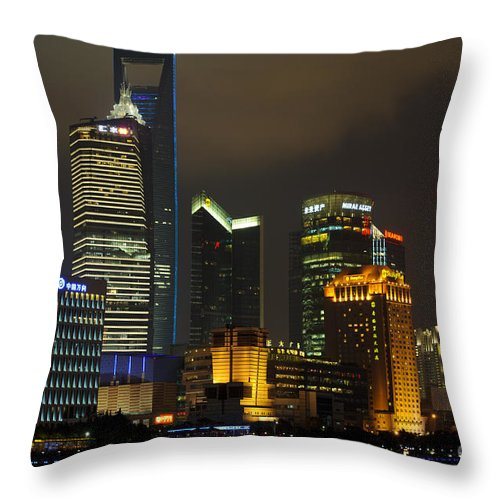 Asia Throw Pillow featuring the photograph Pudong At Night by John Shaw