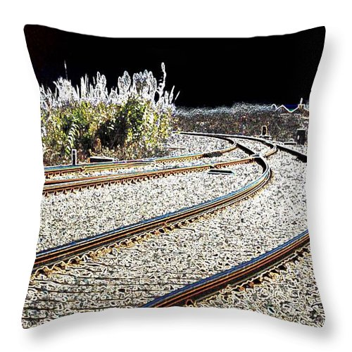 Macro Throw Pillow featuring the photograph Rails Of Hope by Dave Byrne