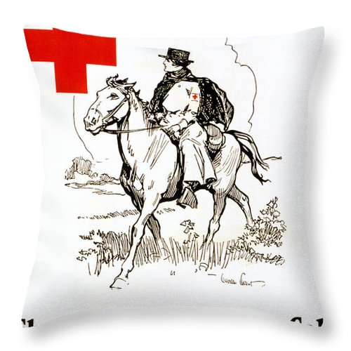 1917 Throw Pillow featuring the photograph Red Cross Poster, C1917 by Granger