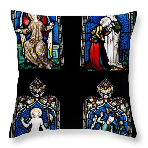 Glass Throw Pillow featuring the photograph Religious Stained Glass Windows by Luis Alvarenga