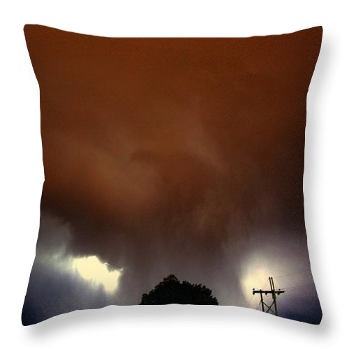 Stormscape Throw Pillow featuring the photograph Rounds 2 3 Late Night Nebraska Storms by NebraskaSC
