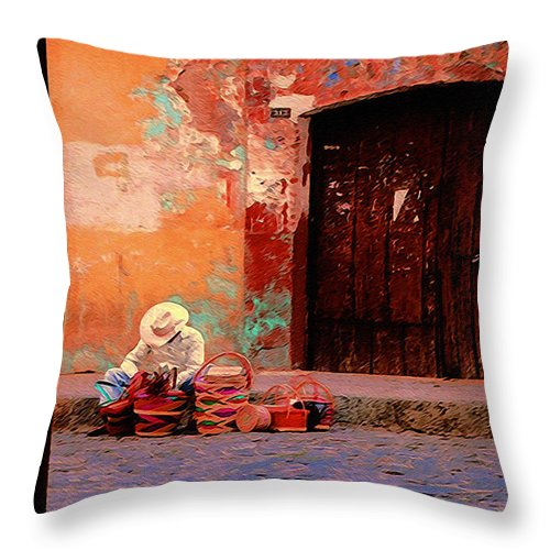 Street Vendor Throw Pillow featuring the photograph Streets Of Oaxaca by Terry Fiala