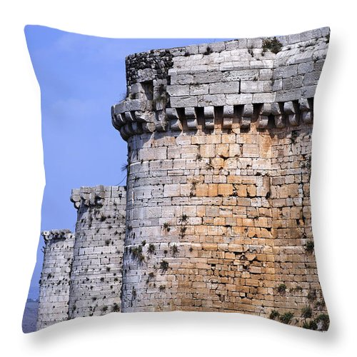Krak Des Chevaliers Throw Pillow featuring the photograph The Crusader Castle Krak Des Chevaliers Syria by Robert Preston