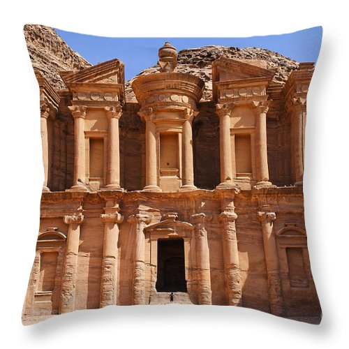 Petra Throw Pillow featuring the photograph The Monastery At Petra In Jordan by Robert Preston