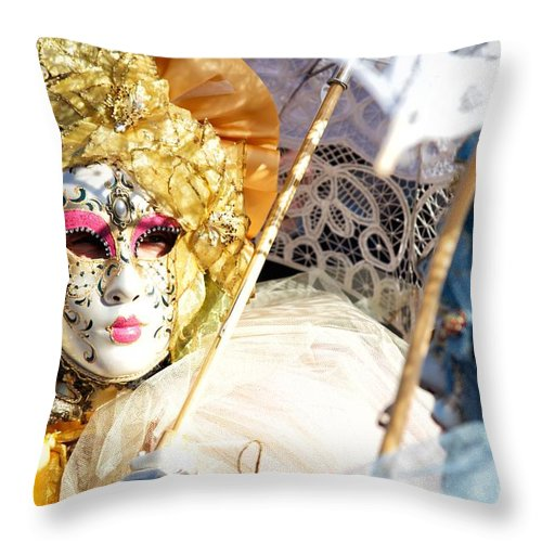 Arts Throw Pillow featuring the photograph Venice Carnival Mask by Ulisse