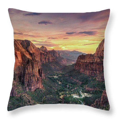 Scenics Throw Pillow featuring the photograph Zion Canyon National Park by Michele Falzone