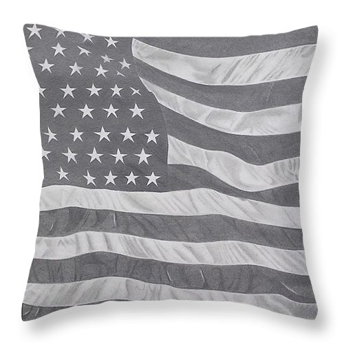 Flag Throw Pillow featuring the pastel 50 Stars 13 Stripes by Wil Golden