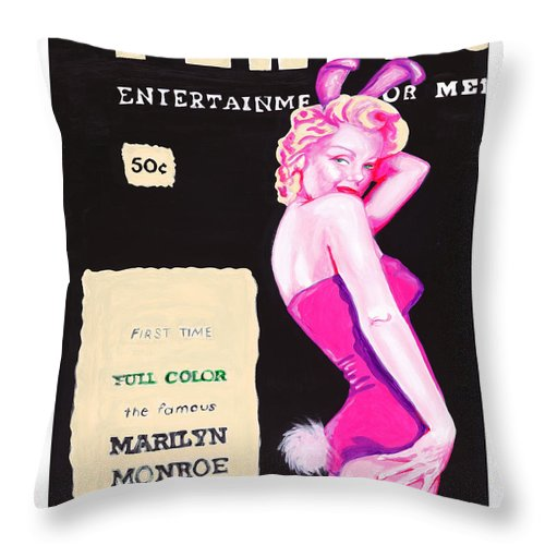 Marilyn Monroe Throw Pillow featuring the painting 50 Years Of Bunnies by Holly Picano