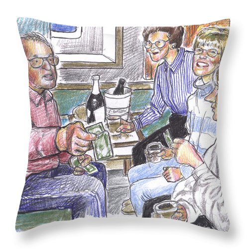 Family Throw Pillow featuring the drawing 50th Anniversary Cruise by Douglas Simonson