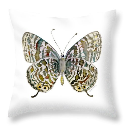 Lang Throw Pillow featuring the painting 51 Lang's Short-tailed Blue Butterfly by Amy Kirkpatrick