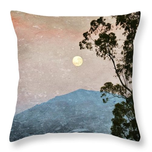 Full Moon; Mountains; Worcester; Western Cape; South Africa; Nature; Landscape; Morning; Morning Light; Sky; Decorative; Background; Texture; Photoshop; Throw Pillow featuring the photograph Full Moon by Werner Lehmann