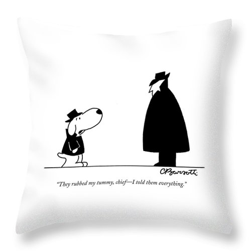 Interrogate Throw Pillow featuring the drawing They Rubbed My Tummy by Charles Barsotti