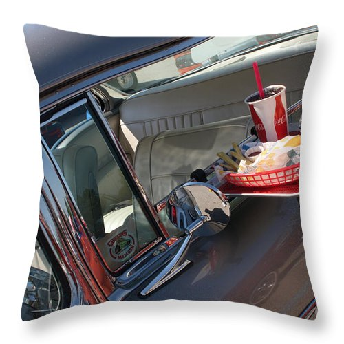 1955 Chevrolet Bel Air Throw Pillow featuring the photograph 55 Bel Air Door-8190 by Gary Gingrich Galleries