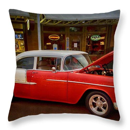 55 Chevy Belair Throw Pillow featuring the photograph 55 Chevy Belair by Saija Lehtonen